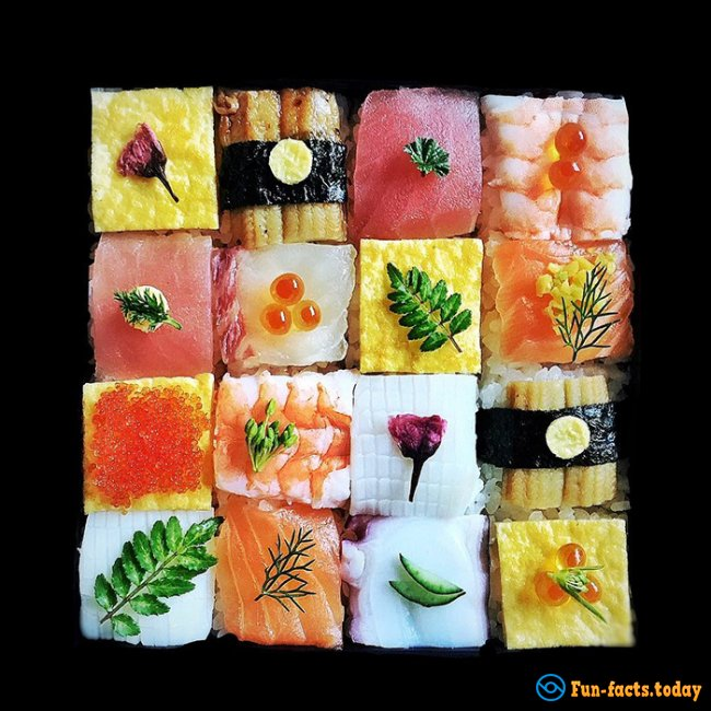 New Sushi trend in Japan: Mosaic from Sushi
